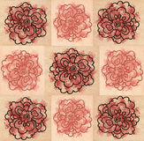 Seamless patterns with decorative squares and flowers Stock Photo