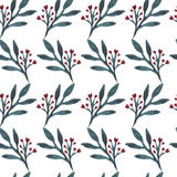 Beautiful seamless pattern in watercolor. Branches with flower heart on a white background. Vector Stock Photography