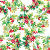 Beautiful seamless pattern in watercolor branches with rowan berries Royalty Free Stock Photo