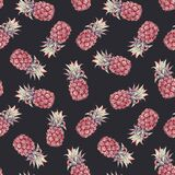 Beautiful seamless pattern with watercolor pineapple. Stock illustration.