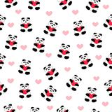 Beautiful seamless pattern of white with bears teddy bears pandas with hearts. In the paws, background for the feast of St. Valentine on February 14 Stock Illustration