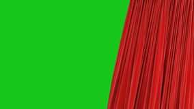 Beautiful Seamless Red Single Curtain Opening and Closing on Green Screen. Looped 3d Animation Abstract Realistic