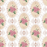Beautiful seamless rose pattern with baroque background ornament Royalty Free Stock Photography
