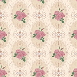 Beautiful seamless rose pattern with baroque background ornament Royalty Free Stock Image