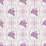 Beautiful seamless rose pattern with baroque background ornament vector illustration