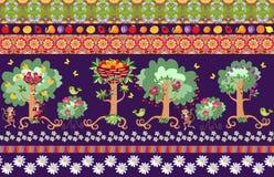 Beautiful seamless striped pattern with cute cartoon fruit trees Stock Image
