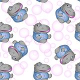 Beautiful seamless texture. Hippopotamus with pink bubbles. Abstract background, children`s design, website design stock illustration