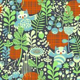 Beautiful seamless texture with owls. Royalty Free Stock Photo