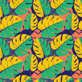Beautiful seamless tropical jungle floral graphic seamless backg Stock Photo