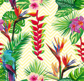 Beautiful seamless tropical jungle floral pattern background  Royalty Free Stock Photo