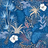 Beautiful seamless tropical summer forest pattern on blue with p vector illustration