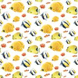 Beautiful seamless underwater pattern with cute watercolor colorful fish. Stock illustration.