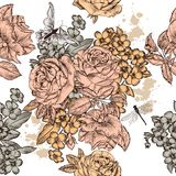 Beautiful seamless vector background with roses  flowers Royalty Free Stock Image