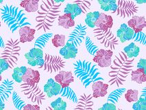 Beautiful seamless vector floral pattern, spring summer background with tropical flowers, palm leaves, jungle leaf vector illustration