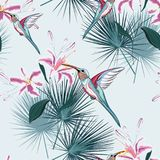 Beautiful seamless vector floral summer pattern background with hummingbird, tropical pink lilies flowers and palm leaves. Perfect for wallpapers, web page stock illustration