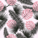 Beautiful seamless vector floral summer pattern background with tropical palm leaves. Perfect for wallpapers, web page vector illustration