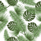 Beautiful seamless vector floral summer pattern background with tropical palm leaves. Perfect for wallpapers, web page Stock Photo