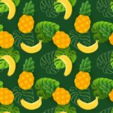 Beautiful seamless vector floral summer pattern with bananas, pineapples and tropical leaves royalty free illustration