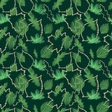Beautiful seamless vector green maple leaf floral pattern on black background stock illustration