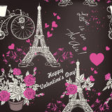 Beautiful seamless vector wallpaper pattern with Eifel tower  Stock Photo