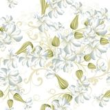 Beautiful seamless vector wallpaper pattern with   flowers Stock Photo