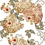 Beautiful seamless vector wallpaper pattern with roses in waterc Royalty Free Stock Images