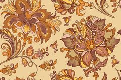 Seamless ornament with pastel golden flowers stock illustration
