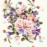Beautiful seamless wallpaper pattern with rose flowers Stock Photo