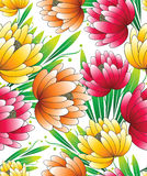 Beautiful seamless wallpaper of vector flowers Stock Photo