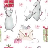 Beautiful seamless watercolor pattern with cute mouse and red candy. Perfect for your project,packaging. Wallpaper,cover design, i