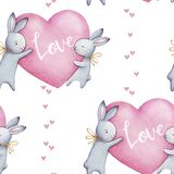 Beautiful seamless watercolor pattern with cute rabbits and pink hearts. Perfect for your project, packaging, wallpaper, cover des
