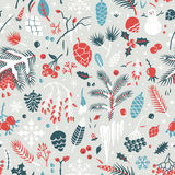 Beautiful seamless winter pattern. With leaves, pine cones, snowflakes, berries, holly, branches. Vector background Royalty Free Stock Photos