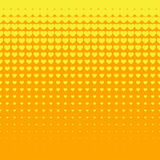 Beautiful Seamless  yellow hearts pattern on orange background Royalty Free Stock Photo