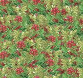 Beautiful seamlessl pattern - gooseberry green branches and red berries. vector illustration