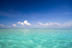 Beautiful Seascape. A Beautiful Seascape with Blue Sky and Turquoise Water Royalty Free Stock Photos