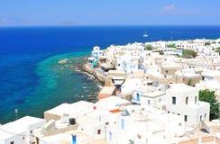 Beautiful seascape. Beautiful landscape of a Greek village Royalty Free Stock Image