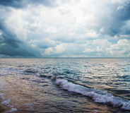 Beautiful seascape. With dramatic clouds, square composition stock photography