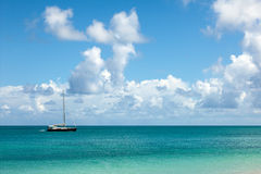 Beautiful Seascape with Anchored Yacht and Sky Royalty Free Stock Photography