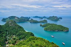 Beautiful seascape of Ang Thong Island National Marine Park near Samui island, Thailand, one of the most famous tourist vacation d. Ang Thong Island National royalty free stock images