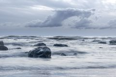 Beautiful seascape background, rocks in the Irish Sea at Seascal Royalty Free Stock Images