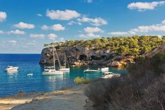 Beautiful seascape bay with yachts and boats.Mallorca island. Spain Mediterranean Sea, Balearic Islands Stock Photo
