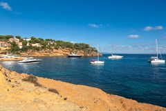 Beautiful seascape bay with yachts and boats.Mallorca island. Spain Mediterranean Sea, Balearic Islands Royalty Free Stock Photo