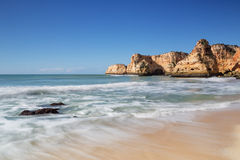 Beautiful seascape beach in Albufeira. Stock Photos