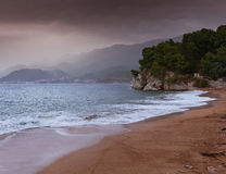 Beautiful seascape, beach and mountains Royalty Free Stock Photography