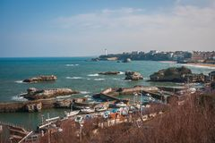 Beautiful seascape at Biarritz, France stock photography