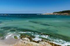 Beautiful seascape of the Black Sea coast near Tsarevo, Bulgaria. Arapya bay.  Stock Photo