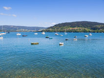 Beautiful seascape with boats in Galicia, Spain. Stock Image