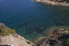 Panorama by Buzzancone beach. On the island of Elba, Italy. Beautiful seascape of Buzzancone beach. This place is located on the Elba Island, in Italy, Tuscany royalty free stock images