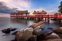 The beautiful seascape and classical gardens of chinese pavilion royalty free stock photography