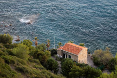 Beautiful seascape with cottage Royalty Free Stock Image